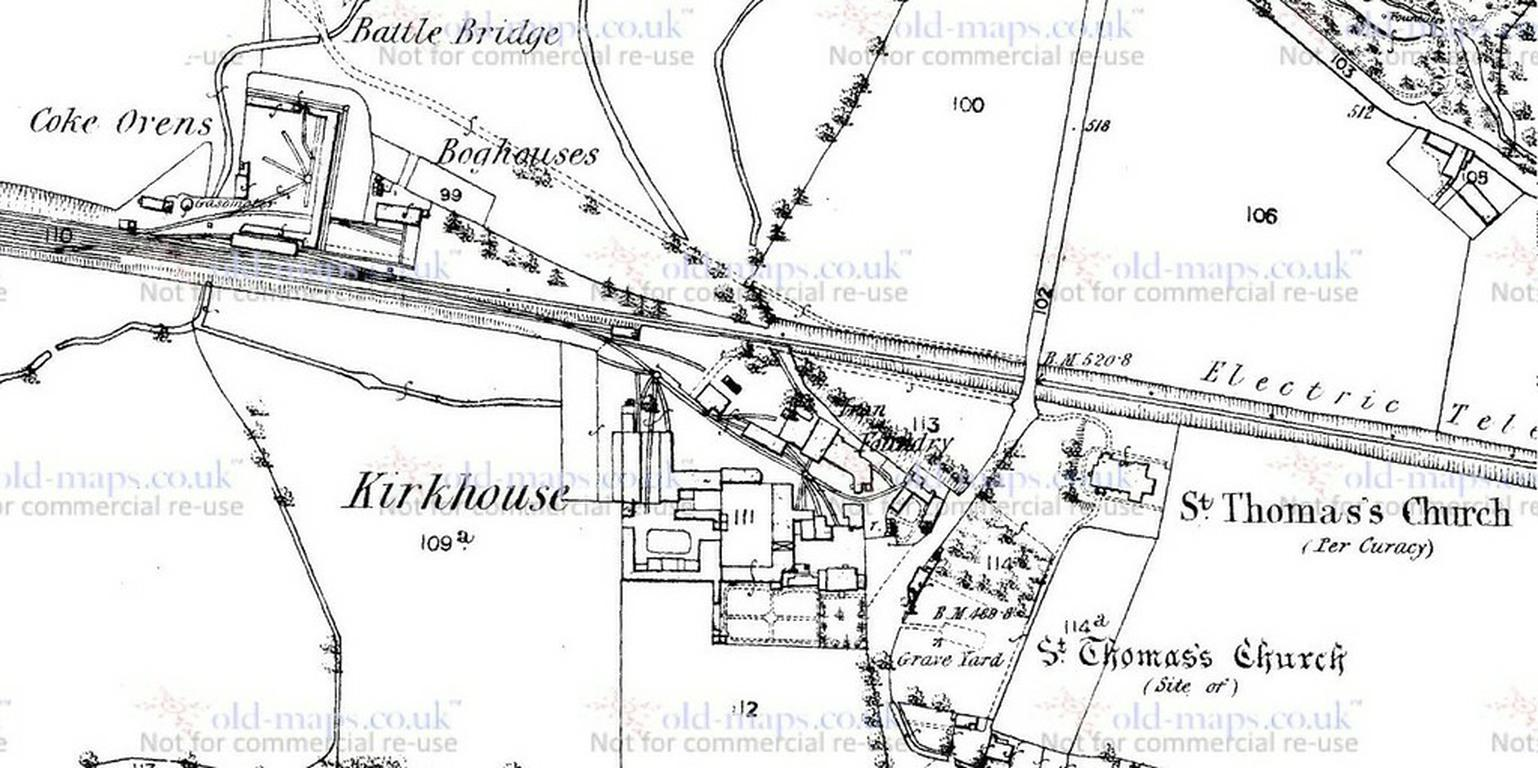 Map of Kirkhouse Farm and Works in 1895