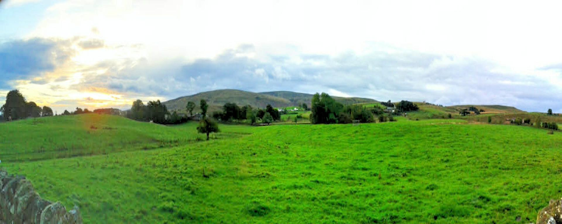 Panorama Looking to the fells from Talkin Road