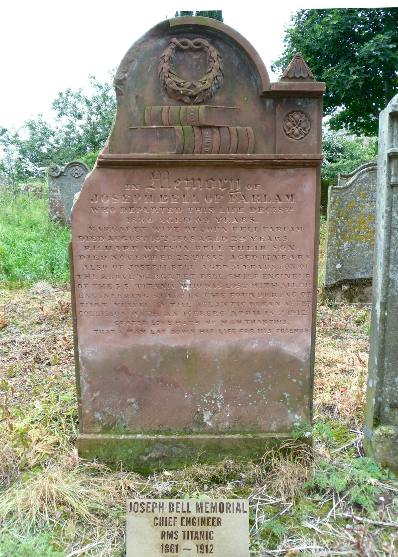 Joseph Bell was the chief engineer on the Titanic and went down with the ship. His family home was in Farlam and his name was add to the Family headstone in the old grave yard at Kirkhouse